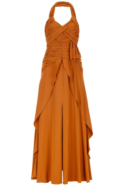 self-portrait Ruched Dress in tan