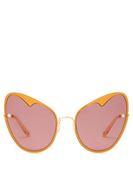 Moy Atelier - Naked Heart Cat Eye Gold Plated Sunglasses - Womens - Gold