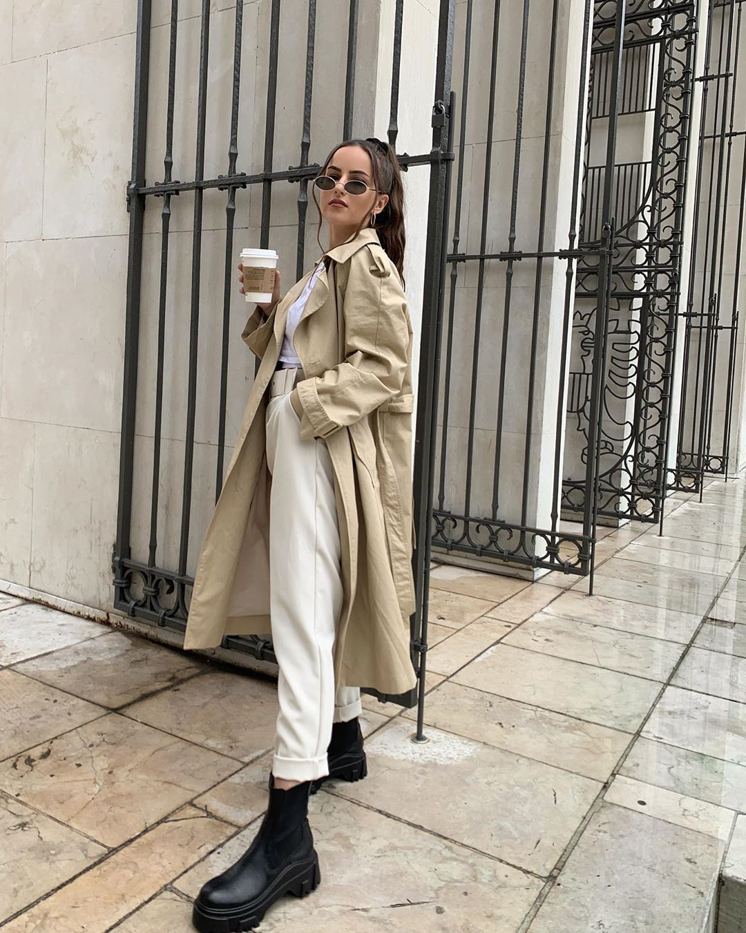 coat trench coat black boots high waisted pants top