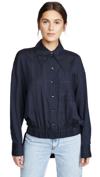 Tibi Double Layer Shirt in navy / multi