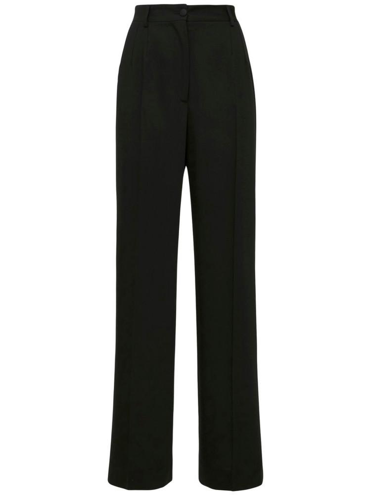 DOLCE & GABBANA Wide Leg Wool Pants in black