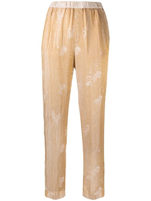 Forte Forte floral jacquard tapered trousers in neutrals