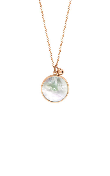 Ginette NY Maria 18K Rose Gold Mother-Of-Pearl Disc Necklace in white
