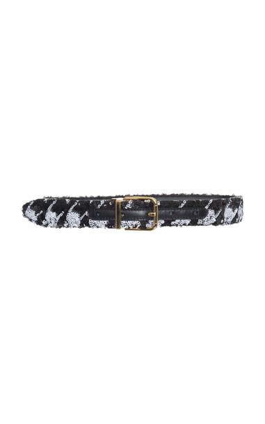 Dolce & Gabbana Sequin Embellished Belt in black / white