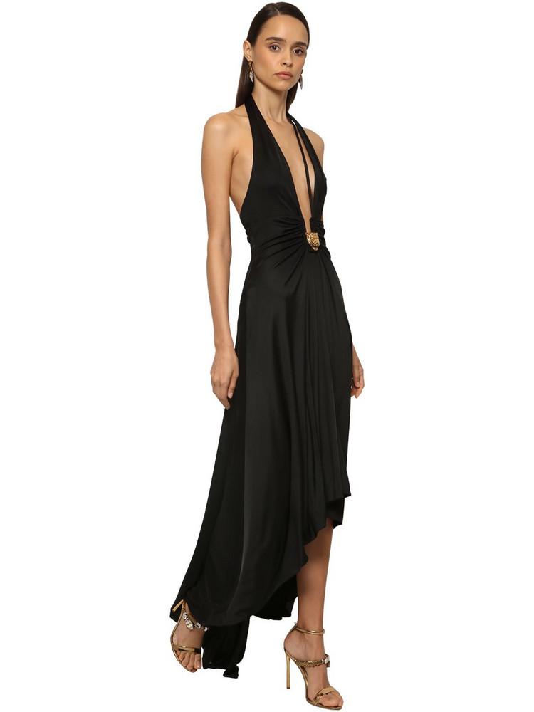 ROBERTO CAVALLI Jersey High Low Dress W/ Leopard Detail in black