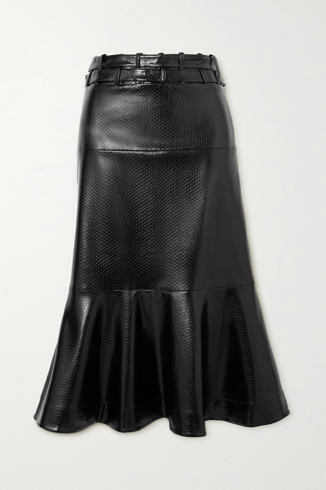 PALMER/HARDING PALMER//HARDING - Leuca Fluted Snake-effect Faux Leather Midi Skirt - Black