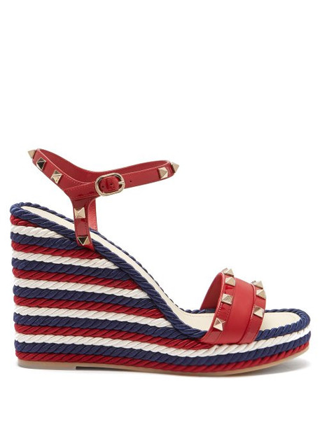 Valentino - Rockstud Torchon Leather Wedge Sandals - Womens - Red