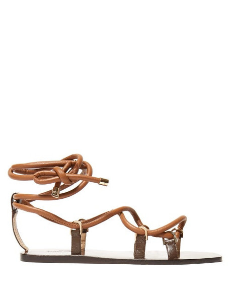 Jimmy Choo - Aziza Leather Lace Up Sandals - Womens - Tan