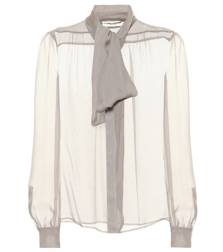 Saint Laurent Silk mousseline blouse in grey
