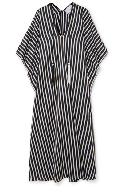 Marie France Van Damme - Boubou Tasseled Striped Cotton And Silk-blend Kaftan - Black