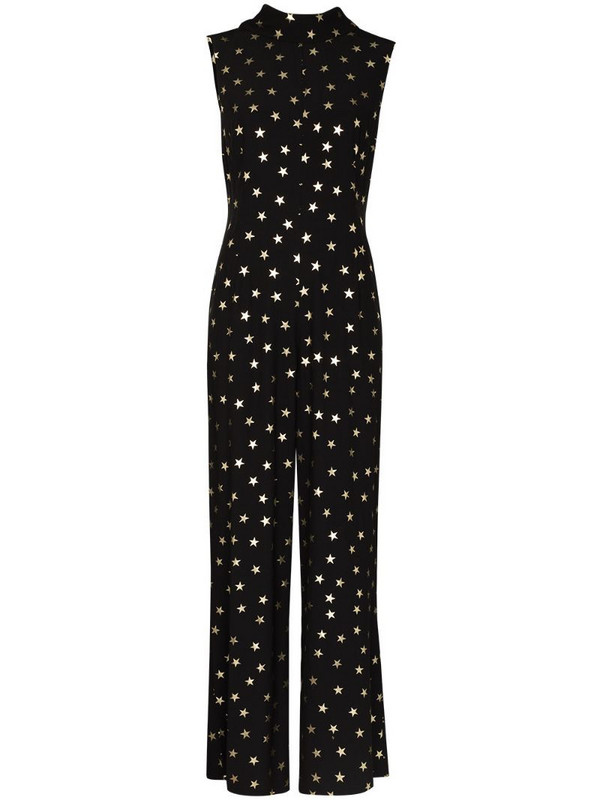 Rixo Frankie sleeveless star print jumpsuit in black