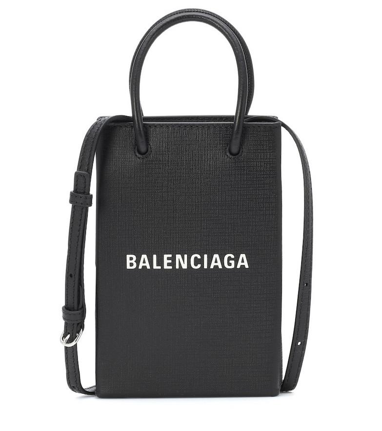 Balenciaga Shopping Phone Pouch shoulder bag in black