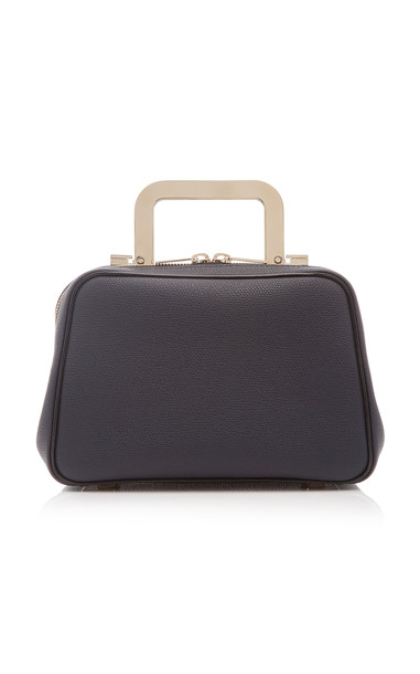 Valextra Series S Mini Leather Metal Top Handle Bag in navy