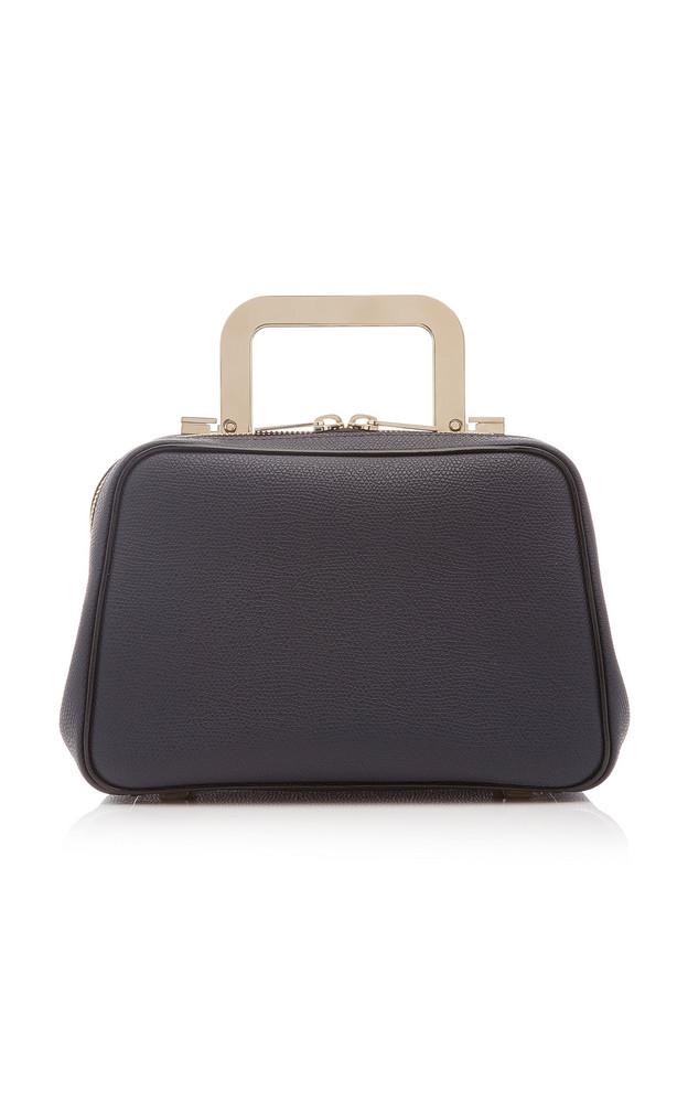 Valextra Series S Mini Leather Metal Top Handle Bag in navy