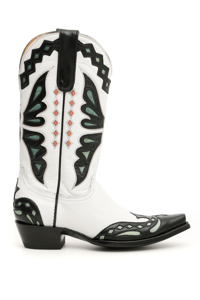 Jessie Western Butterfly Cowboy Boots in white