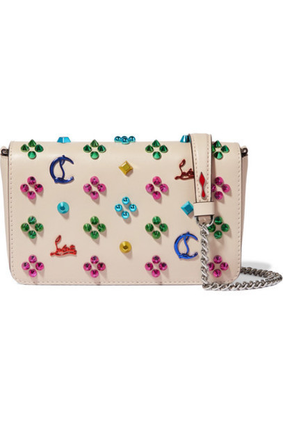 Christian Louboutin - Zoompouch Studded Leather Shoulder Bag - Ivory