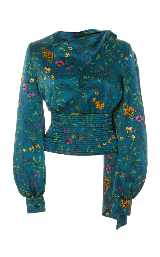 AMUR Ray Floral-Patterned Silk Blouse in print