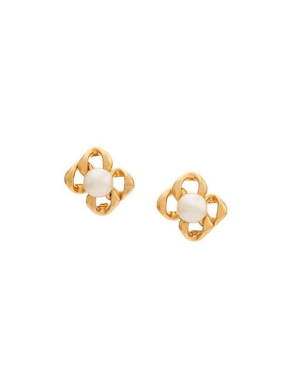 Rewind Vintage Affairs 1990's pearl embellished earrings in gold