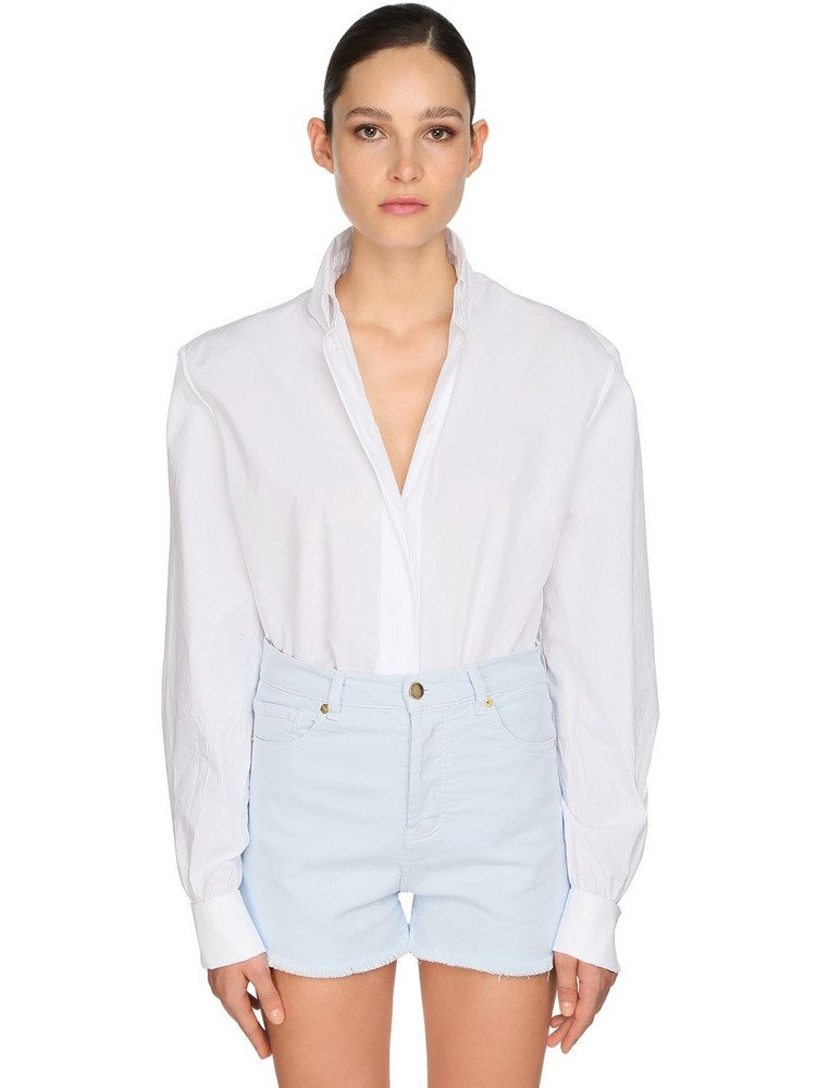 ALEXANDRE VAUTHIER Cotton Poplin Shirt W/crystal Buttons in white