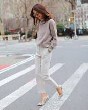 sweater,turtleneck sweater,grey sweater,grey pants,high waisted pants,pumps