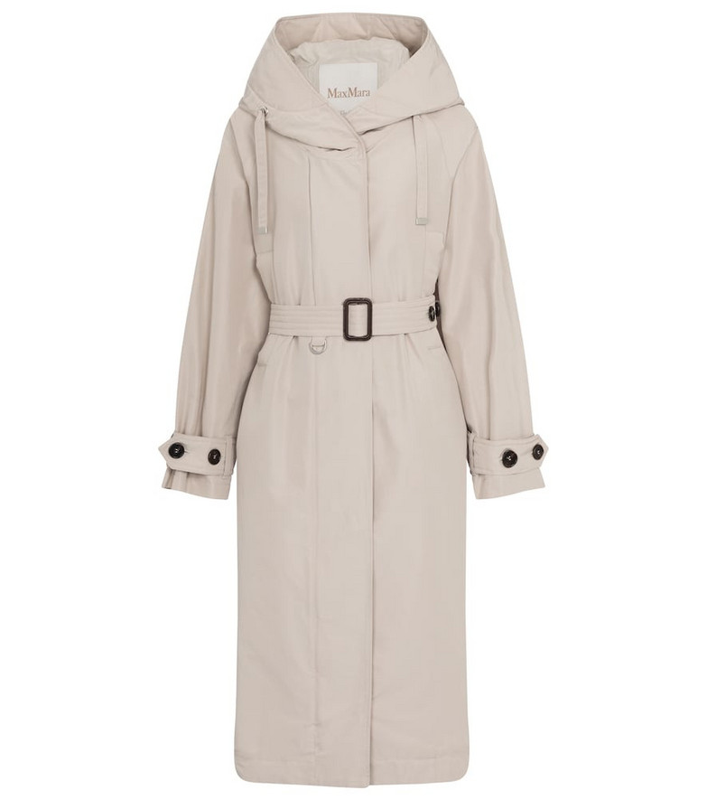 Max Mara Bparka cotton-blend hooded coat in white