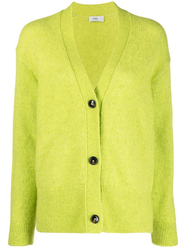 Closed button-up knit cardigan in green