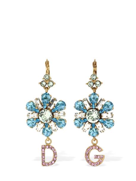 DOLCE & GABBANA D & g Blooming Flower Crystal Earrings in blue