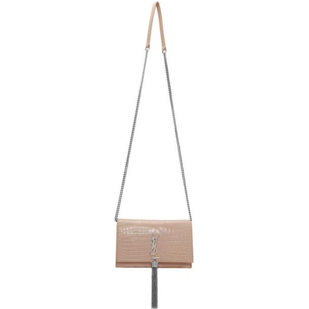Saint Laurent Pink Croc Kate Tassel Bag