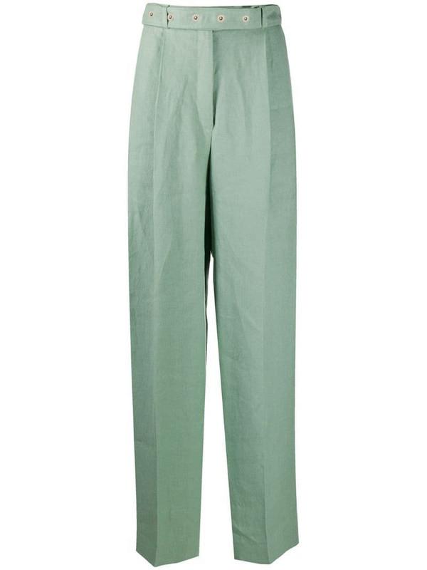 MRZ pleat-detail trousers in green