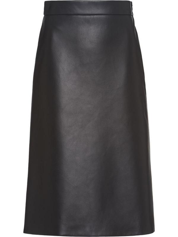 Prada leather midi skirt in black