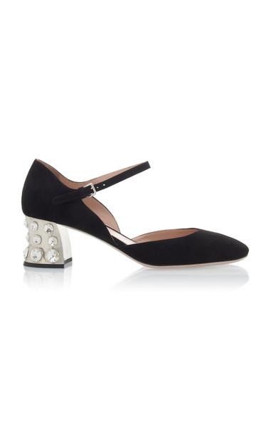 Miu Miu Embellished Suede Mary Jane Pumps Size: 36 in black