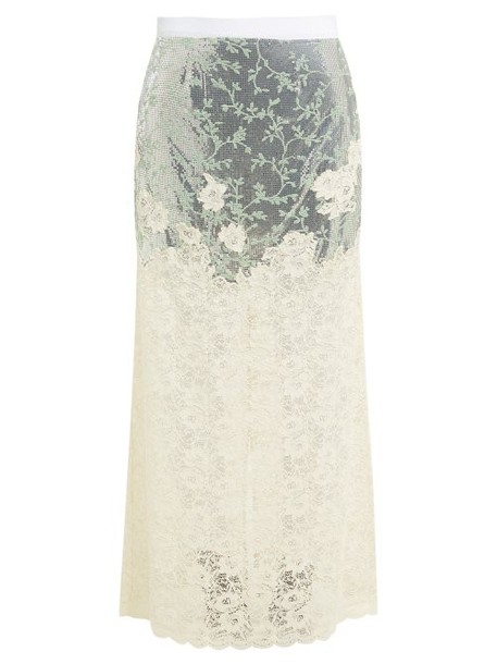 Paco Rabanne - Chainmail And Chantilly Lace Maxi Skirt - Womens - Silver Multi