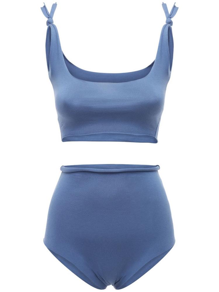 ISOLE & VULCANI Seamless Cotton Jersey Bikini in blue