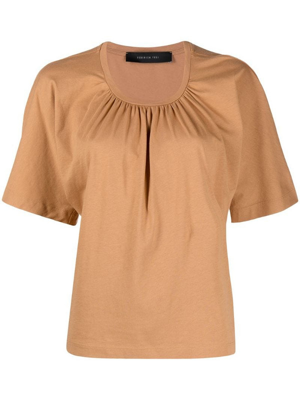 Federica Tosi gathered cotton T-shirt in brown