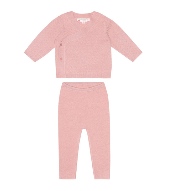 Bonpoint Baby cashmere cardigan and pants set in pink