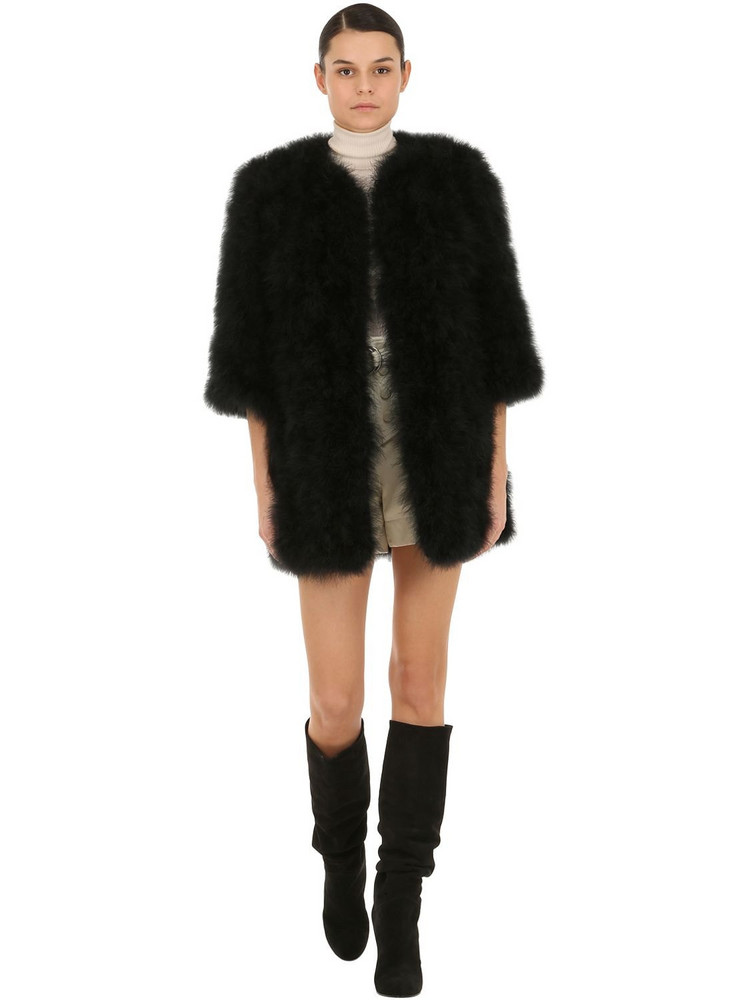 YVES SALOMON Feather Coat in black