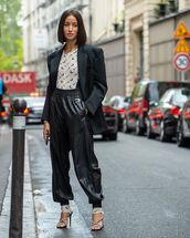 jumpsuit,nike,sandal heels,black pants,black blazer