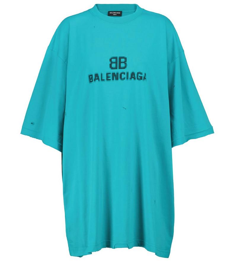 Balenciaga Logo cotton jersey T-shirt in blue