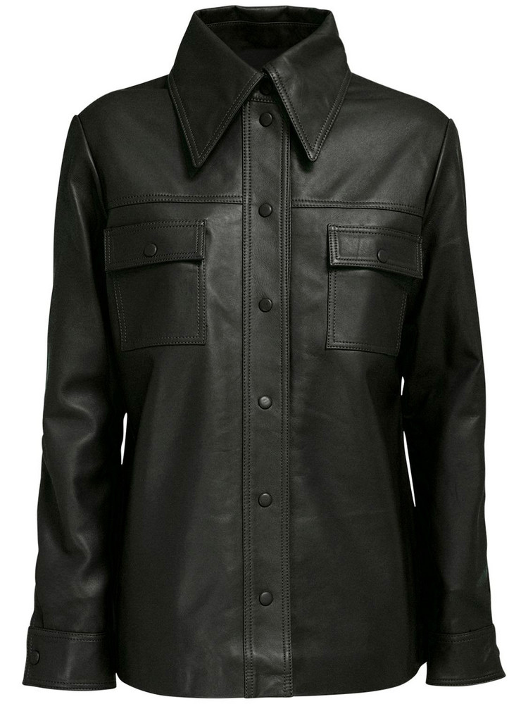 REMAIN Rosalee Leather Shirt in black