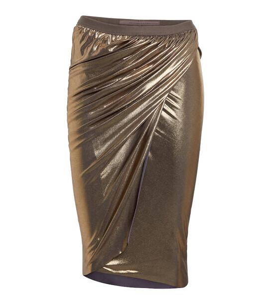 Rick Owens Lilies metallic jersey midi skirt in gold