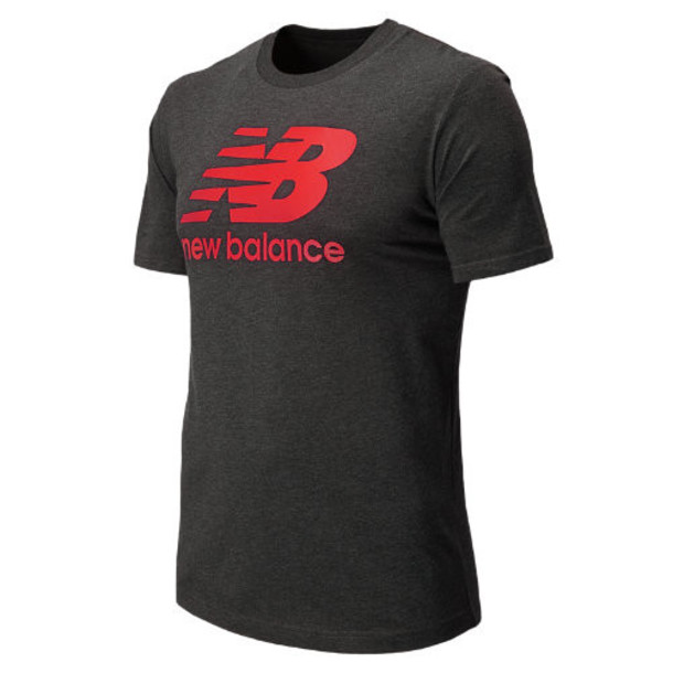 New Balance 4374 Men's Large Logo Tee - Heather Charcoal, Velocity Red (MET4374VLR)