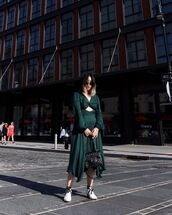 bag,black bag,balmain,green dress,midi dress,long sleeve dress,white shoes,ankle boots