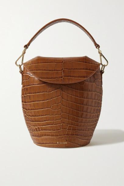 S.Joon - Milk Pail Croc-effect Leather Tote - Light brown