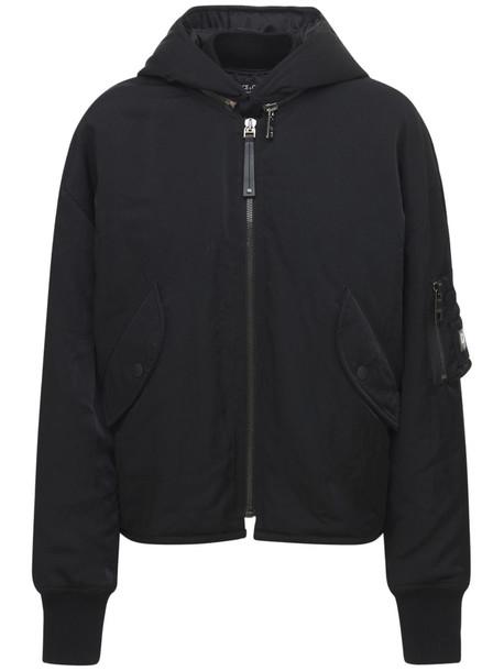 DOLCE & GABBANA Nylon Hooded Bomber Jacket in black