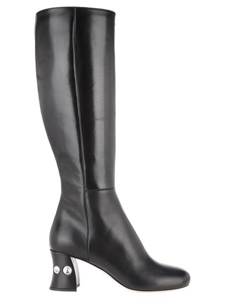 Miu Miu Crystals Embellished Heel Boots in black