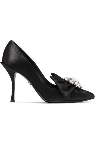 Dolce & Gabbana - Crystal-embellished Satin Pumps - Black