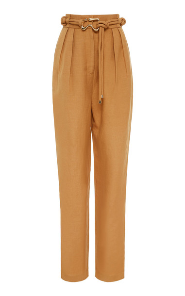 Acler Corsica Linen Blend Caramel Pant Size: 2 in brown