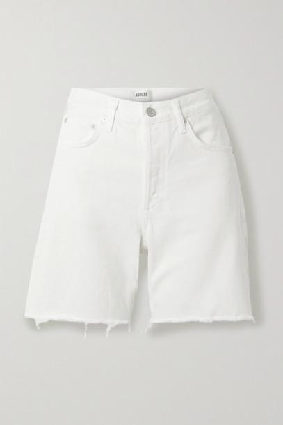 AGOLDE - Rumi Frayed Denim Shorts - White