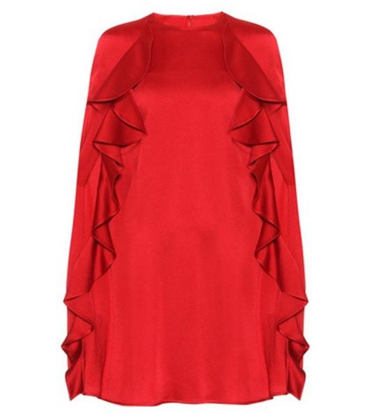 Valentino Crêpe cape dress in red