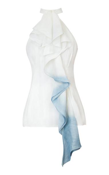 Alejandra Alonso Rojas Cascade Ruffled Linen-Blend Top Size: 0 in white